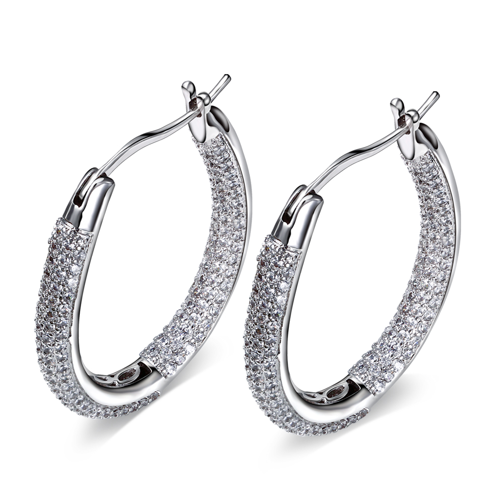 Vintage Women oval hoop Earrings Cubic Zirconia white Gold Plated Earing White Stone Crystal Luxury Circle Hoop Earring Jewelry(China (Mainland))