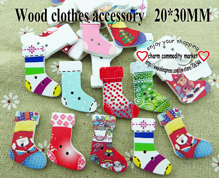 100PCS Stockings painting wooden clothes accessories craft findings handmade wood girl button flatback WCF-140(China (Mainland))