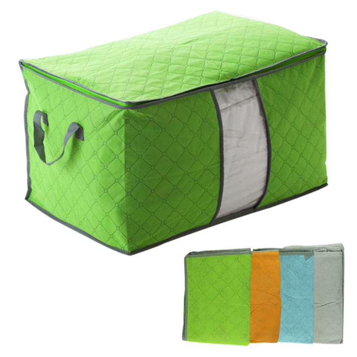 Delicate Bamboo charcoal clothing storage bag Quilt storage case Bedding organizer Non-wooven bag Hot Selling(China (Mainland))