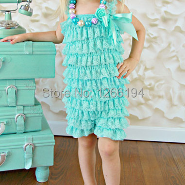Top Sale Infant Girl Mint Lace Ruffle Pettiromper Fancy Girl Romper Design Jumpsuit Free Shipping(China (Mainland))