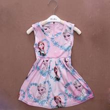 girl summer dress cartoon cosplay snow queen princess dresses elsa dress anna clothes baby girl costume