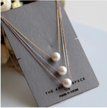 925 sterling silver pendant natural pearl Chain wedding chunky new 2015 new jewelry gold chain pearl necklace female short N039(China (Mainland))