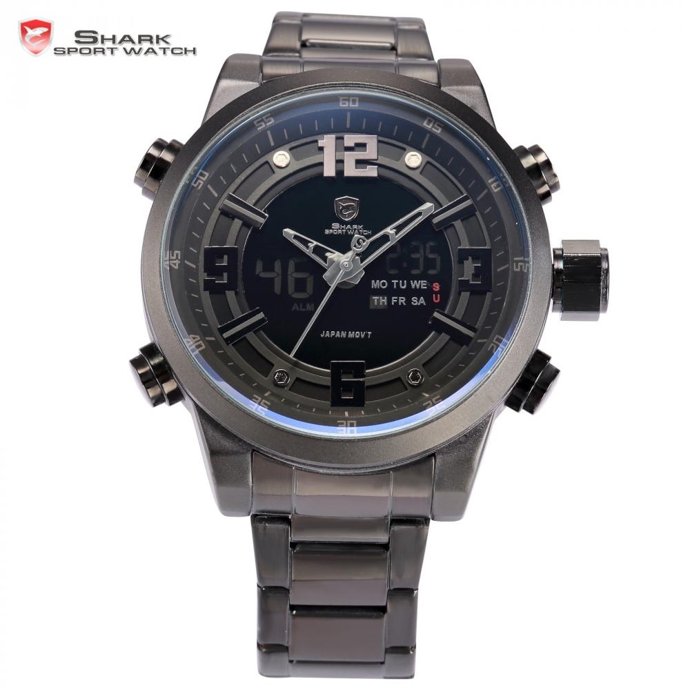 Basking Shark Sport Watch Dual Time Black LCD Date Alarm Steel Band Relogio Quartz Water Resistant Digital Men Wristwatch /SH343(China (Mainland))