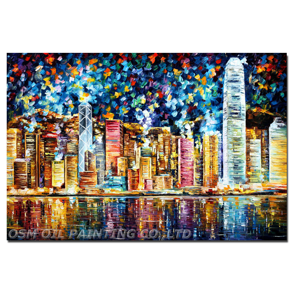 Professional Artist Hand-painted High Quality Colorful Hong Kong Oil Painting on Canvas Abstract Hong Kong Landscape Painting(China (Mainland))