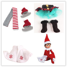 10pcs The Shelf On The Shelf Winter Set & Boots Tartan Skirt & Boots Satin Tiered Skirt Elf Clothes Doll Accessories