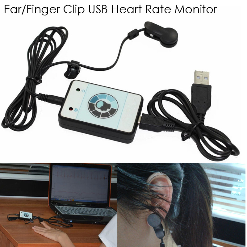 Infrare Heart Rate Pulse Sensor Heart Rate Box for Computer USB Heart Rate Monitor with Heart Rate Varaibility HRV R-R Interval(China (Mainland))