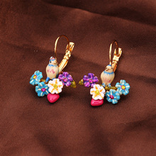 Enamel sweet blue tits Daisy heart pendant earrings earrings ear hook female French big fashion female jewelry(China (Mainland))