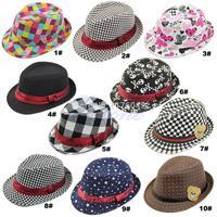 B39 9Styles Kid Boy Girl Fashion Flat Top Fedora Cap Sun Hat Blues Jazz Dance 1PCS free shipping