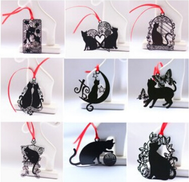 Гаджет  Lovely Cute Kawaii Metal Bookmark  Black Cat Book Holder for Book Paper Creative Gift Korean Stationery Free shipping 735 None Офисные и Школьные принадлежности