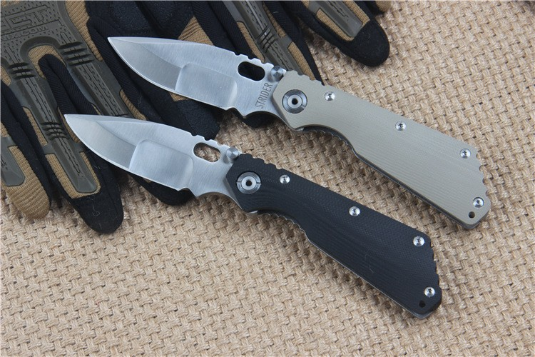 Buy Strider knives Quality 56HRC 5Cr13Wov Blade G10 + stainless steel Handle Folding knife Survival Camping Hunting EDC Utility Tool cheap