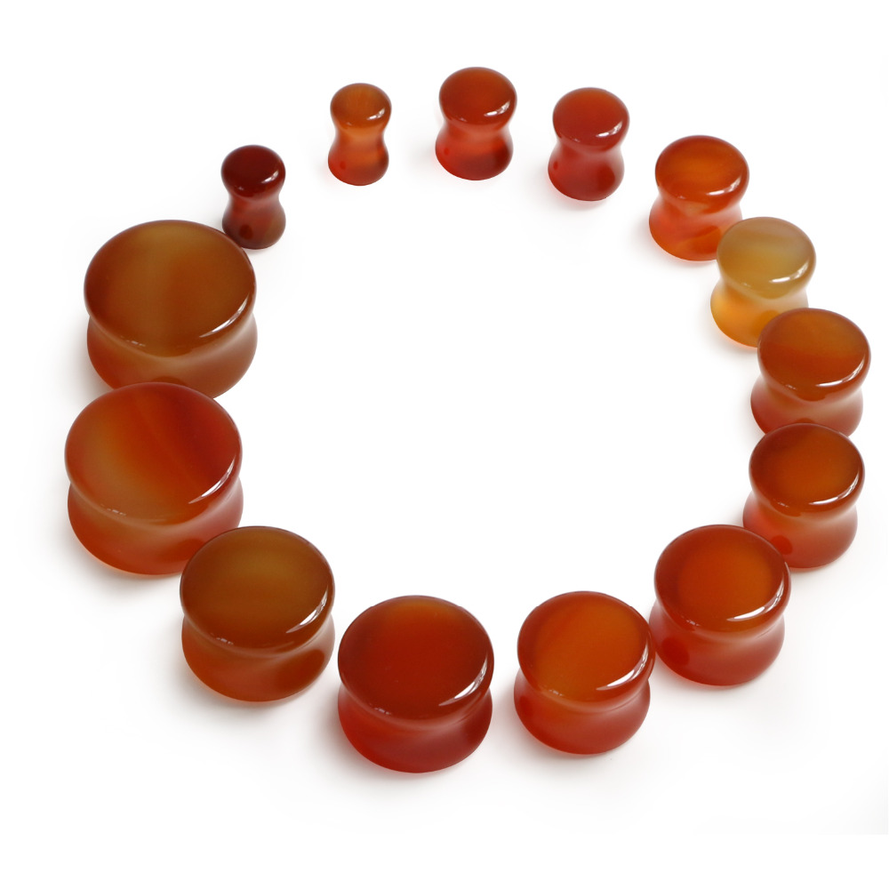 1 Pair Of Organic Natural Polished Stone Body Jewelry Piercing Ear Plug Saddle Double Flare Gauges Carnelian 6mm-19mm(China (Mainland))