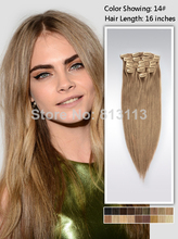 "Discount!!Oxette 90g-120g blonde Color 14# Hair Extension clip in Hair 15""-24"",Clip In Fashion Hair Extension Brazilian virgin h(China (Mainland))"