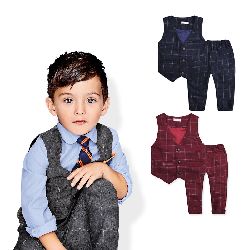 2015 New children's leisure clothing sets kids baby boy suit vest gentleman clothes for weddings formal clothing(China (Mainland))