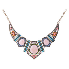 Large Resin Flower Geometric Pendants & Necklaces Statement Vintage Gold Plated Colorful Blue Beads Choker Necklace for Women(China (Mainland))