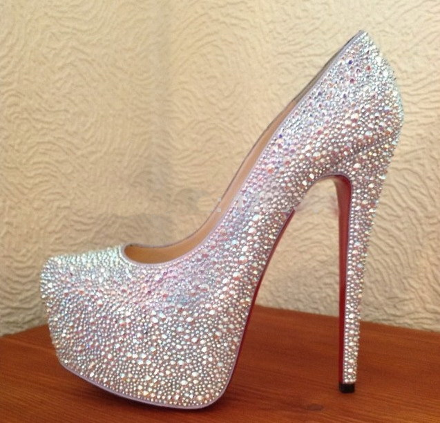 REAL PHOTO Rhinestone Crystal Gold High Heels Pump Shoes Platform Red Bottom Jeweled Sexy Party Kim Kardashian women daffodile(China (Mainland))