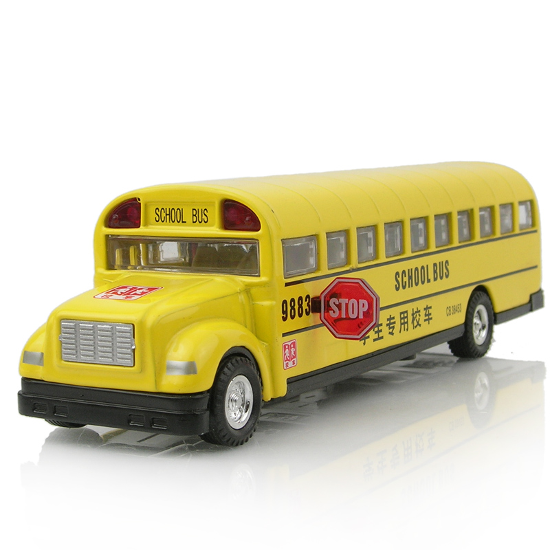 Alloy toy car school bus long bread bus school bus car model acoustooptical WARRIOR