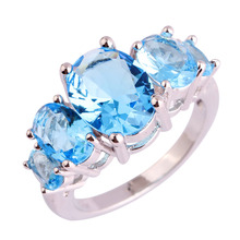 Buy lingmei Wholesale Dazzling Blue CZ Silver Color Ring Size 6 7 8 9 10 11 12 13 Women Party Fashion New Jewelry Free Ship for $2.23 in AliExpress store