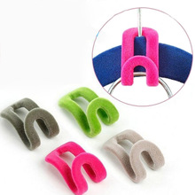 10 PCS/Lot Random Color!! Home Creative Mini Flocking Clothes Hanger Easy Hook Closet Organizer(China (Mainland))