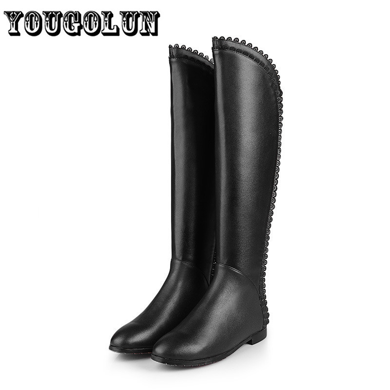 new 2014 soft genuine Leathe+PU&amp;all Full Grain Leather knee-high Black Riding boots,winter plush square heels women long boots<br><br>Aliexpress