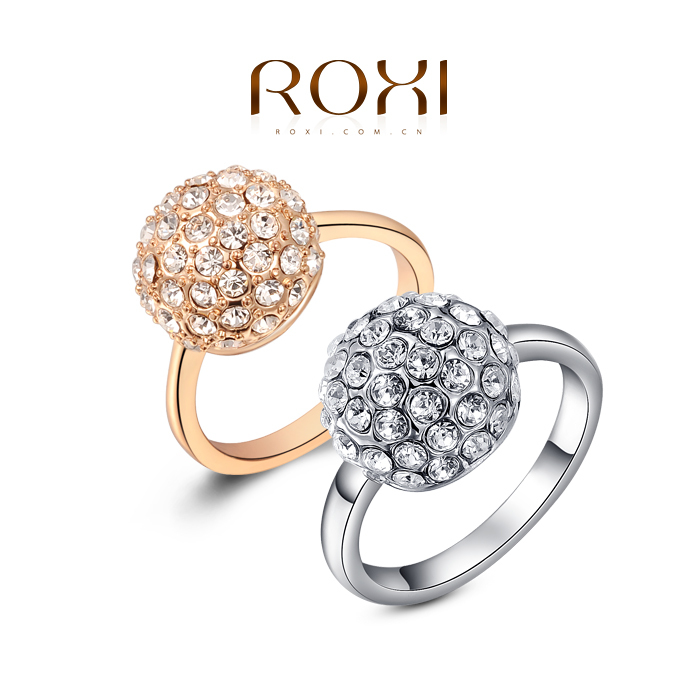 ROXI High quality Ball with Stones Ring Fashion Jewelry Best Gift For Woman For Party Wedding Free shipping(China (Mainland))