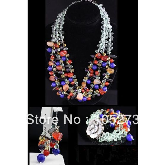 New Arriver Gem Stone Jewelry Set Natural Lapis Carnelian Amethyst Smoky Quartz Necklace Bracelet Earrings 5-17mm Flower Clasp<br><br>Aliexpress
