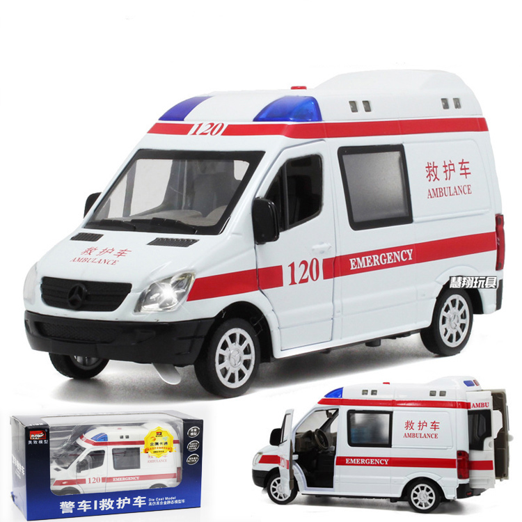 Free Shipping 1/32 Scale Car Model Toys China Ambulance Diecast Metal Pull Back Car Toy New In Box For Gift/Kids(China (Mainland))