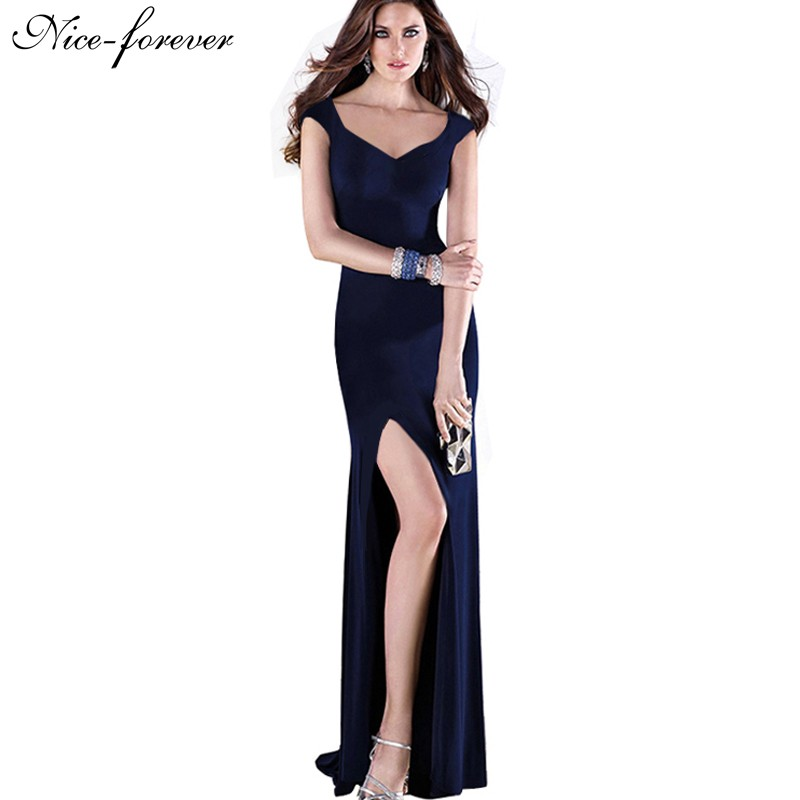 Nice-forever New Sexy V-Neck Brief Summer Solid Color Elegant Women Sleeveless Stretched Maxi Split Prom Bodycon Long Dress B301(China (Mainland))