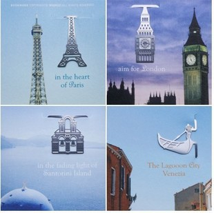 24 sets of European Building Bookmarks Silver Big Ben,Eiffel Tower Paper Clips,Creative Metal Bookmarks For Kids(China (Mainland))
