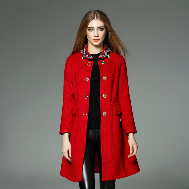 High Quality 2015 Fall Winter Woolen Coat Women Fashion Beading Collar Wool Trench Coat Long Winter Outerwear Womens Overcoat Одежда и ак�е��уары<br><br><br>Aliexpress