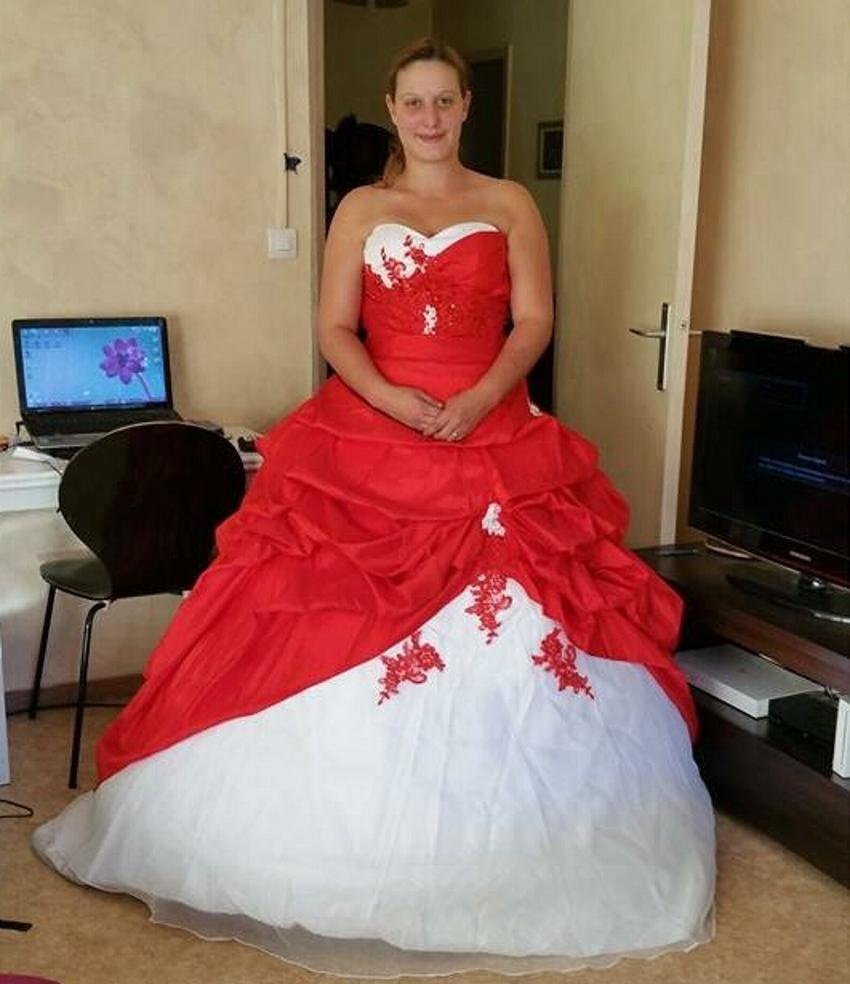 robe de bal Satin mariée de mariée pas cher rouge et blanc robes de ...