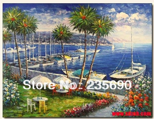 Home decoration Beautiful Sea Hand-painted Wall art Modern Mediterranean Landscape oil painting on canvas 24*36inch/24*48inch(China (Mainland))