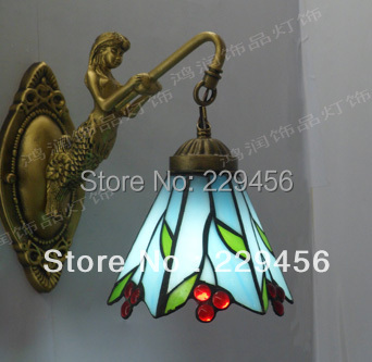 Tiffany Fresh Country Mermaid Wall Lamp Stained Glass Lampshade Sconce Bedside Lamparas Luminaria E27 110-240V(China (Mainland))