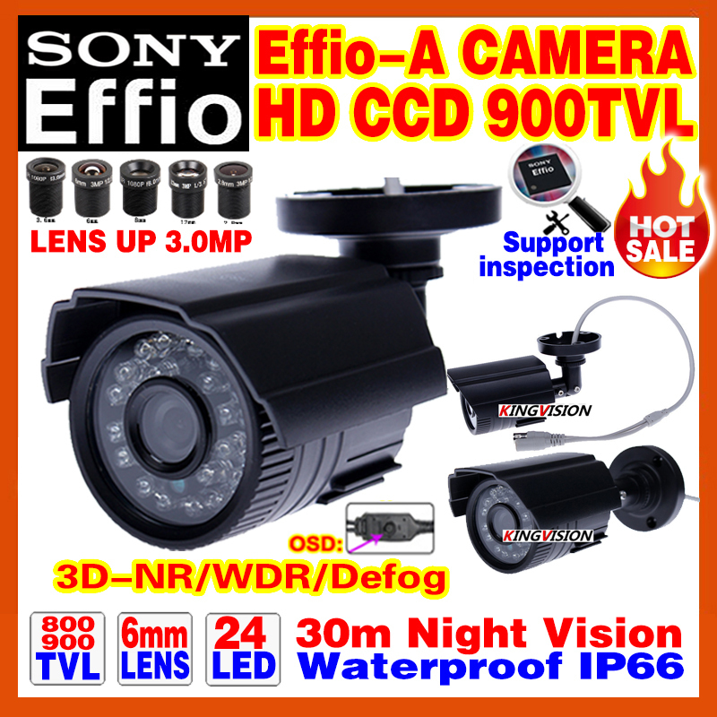 Real 1/3 Sony CCD 900TVL EffioA Mini Hd Surveillance Cctv Camera OSD Menu Waterproof IP66 24led IR Night Vision 30m have Bracket(China (Mainland))