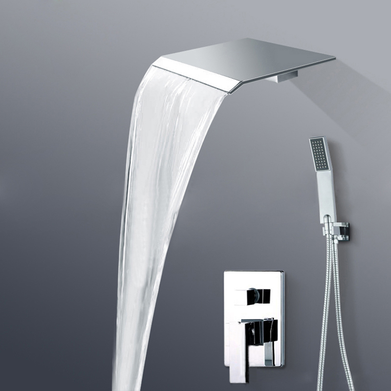 Wall Mount Single Handle Mixer Valve Shower Set Faucet Waterfall Rain Shower Head BR-PB-100(China (Mainland))