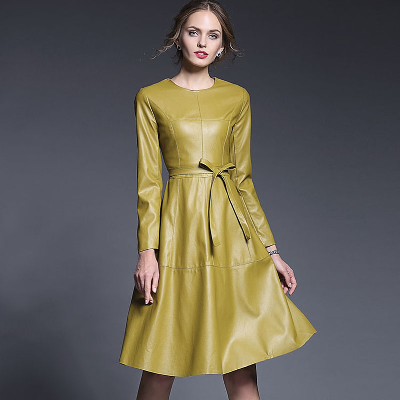 2016 Autumn Winter Europe New Fashion Runway Yellow Full Sleeve Peplum Belt Knee-Length Slim Brand Leather DressОдежда и ак�е��уары<br><br><br>Aliexpress