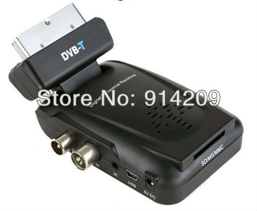 Free Shipping ! promotion !  Digital Scart TV Box Tuner DVB-T Mini Freeview Receiver