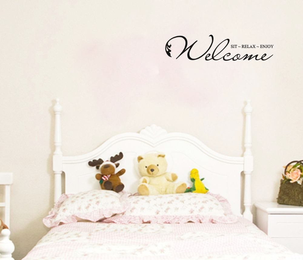 Welcome SIT~RELAX~ENJOY vinyl wall quote for home(China (Mainland))