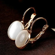 Buy MOONROCY Free Fashion Earrings Jewelry Trendy Rose Gold Color Austrian Crystal Opal Earrings Wedding women Gift for $4.22 in AliExpress store