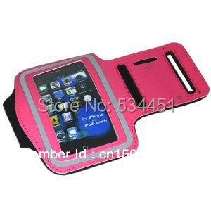 -Hot Pink-Compatible for your gym exercise comfortable armband case for iPhone4& 4 +SProtective film
