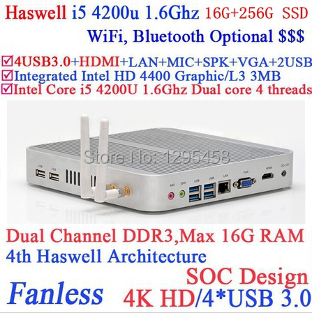 Intel I5 4K fanless embedded pc with Intel Core i5 4200U 1.6Ghz Haswell Architecture SOC design 16G RAM 256G SSD windows Linux(China (Mainland))
