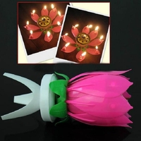 Hot Sale 1PC/lot Beautiful Blossom Lotus Flower Candle Birthday Party Cake Music Sparkle Cake Topper Rotating Candle HO670976