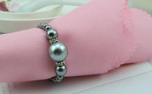 Gray Pearls Napkin Rings for Table Decoration