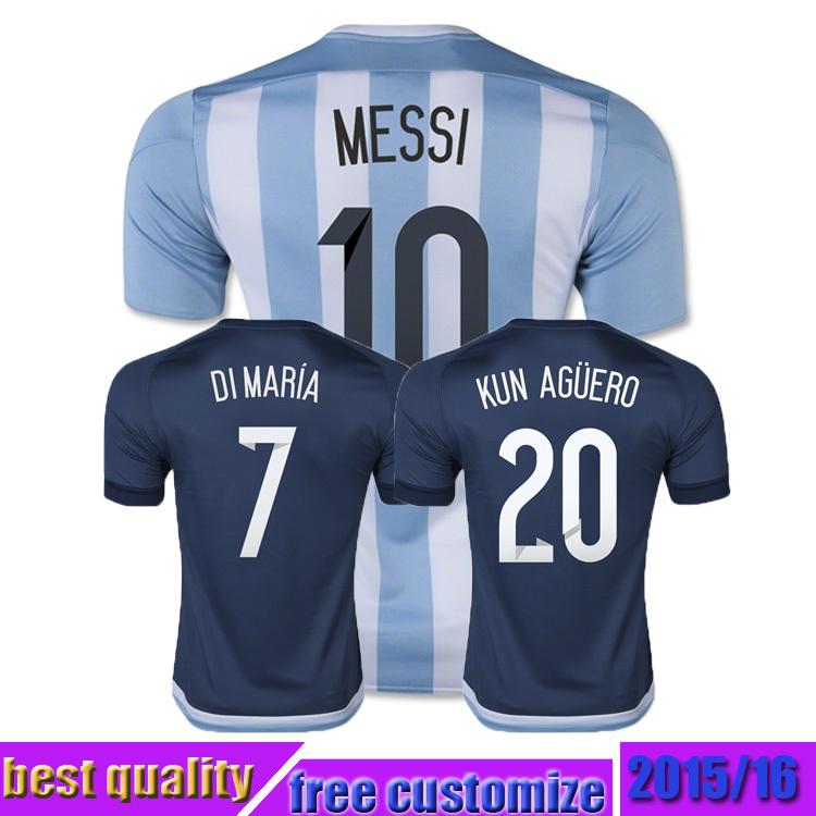 argentina Soccer Jersey 2015 2016 argentina Uniforms MESSI KUN AGUERO DI MARIA MASCHERANO 15 16 Football Shirt(China (Mainland))