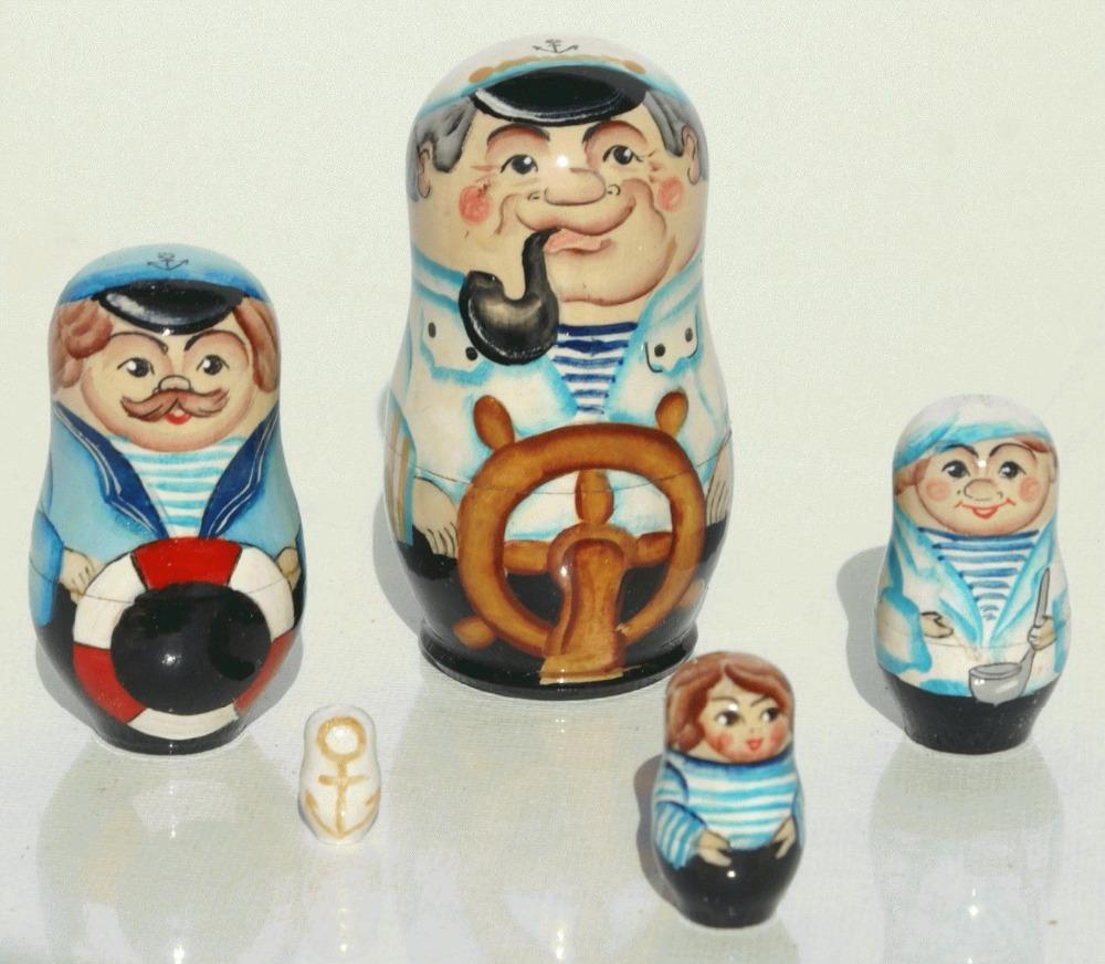 Sea Navy Man, Matryoshka Russian Nesting Stacking Wooden Doll Ocean Water Army Souvenir Gift, 5pc(China (Mainland))