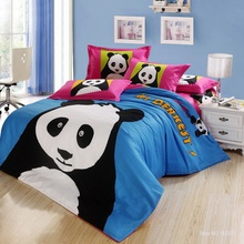 100% cotton kids/adult cartoon black and white bed set panda duvet cover/bed sheets/pillowcase twin queen king size bedding set(China (Mainland))