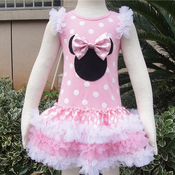 Pink Minnie Mouse Polka Dot Tutu dress Ruffled dress applique Mickey Minnie Clothing Dress up,costume,birthday vacation outfit(China (Mainland))