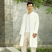 Autumn 2016 New Men's Cardigan Coat Wholesale Coins Buckle In The Long Section of Folk Style Casual Linen Coat D558(China (Mainland))