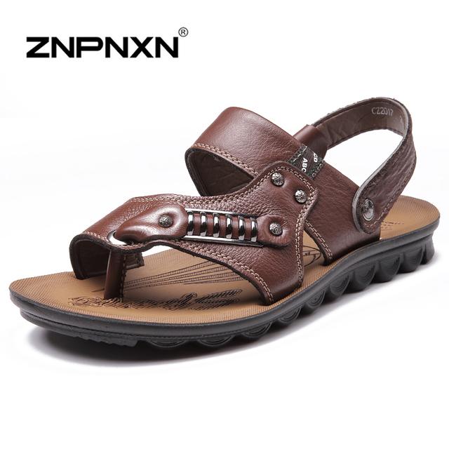 Znpnxn новый 2016 бренд мужской сандалии качества из натуральной кожи коровьей сандалии ...