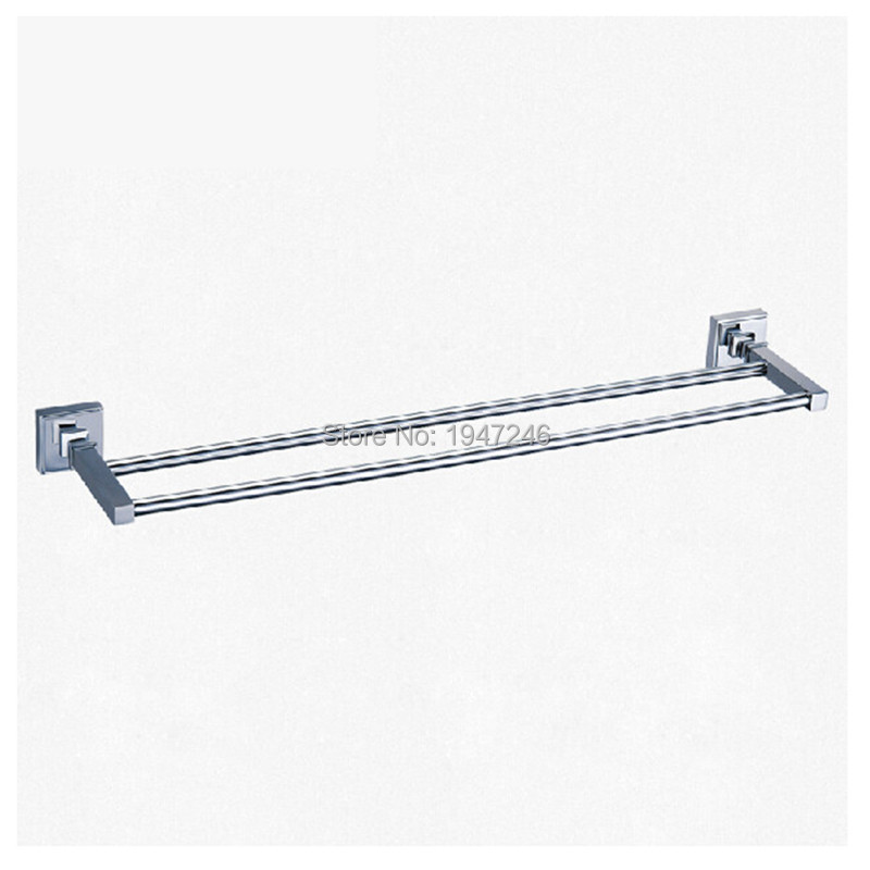 Wholesale And Retail Modern Square Solid Stainless Steel Bathroom Towel Rack Holder Double Towel Bars Wall Mounted(China (Mainland))