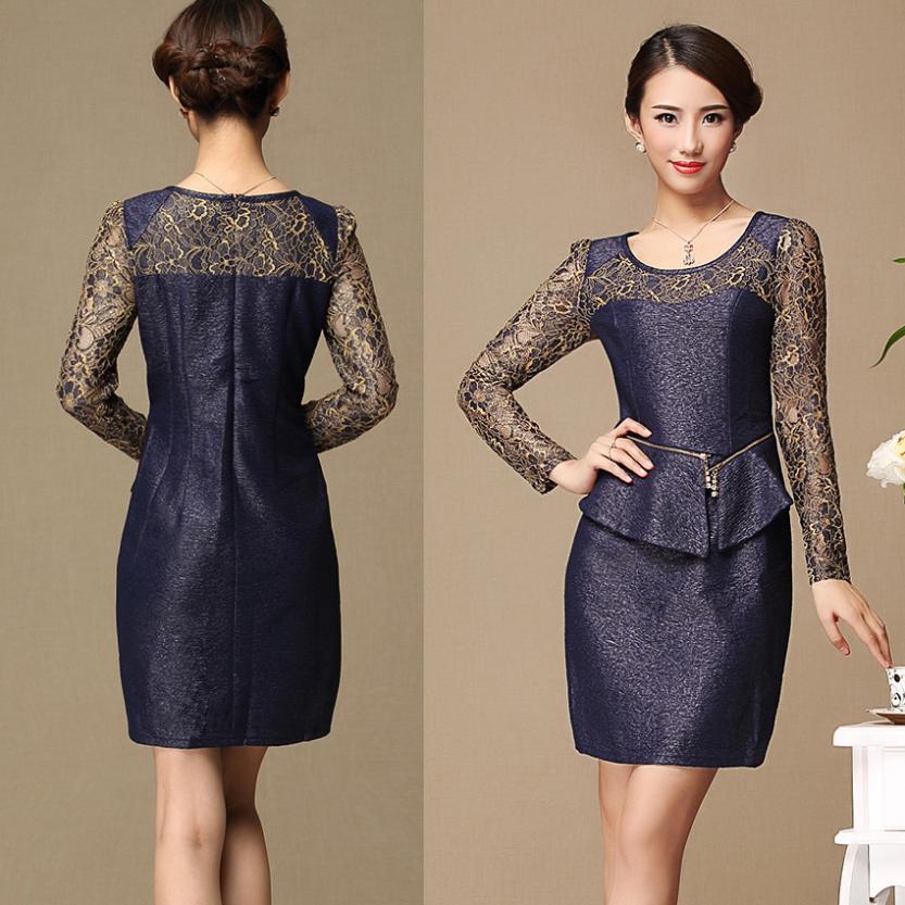 2014 women long sleeve knee length office work days wear lace peplum dress womens bodycon sheath pencil - ShowyDress store